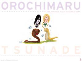 orochimaru and tsunade by funshark
