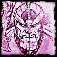 Thanos head sketch by JoeyVazquez