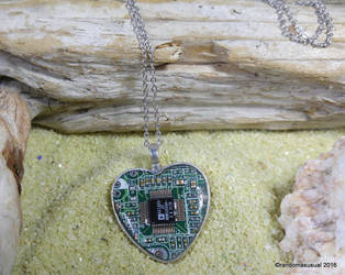 Aug. 31, 2016 - Circuit Board Heart Necklace by randomasusual