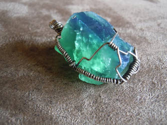 Natural Color Changing Raw Fluorite Pendant by A-Sharper-Spectrum