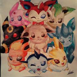 Evee y sus evoluciones (pokemon) by Crishanin