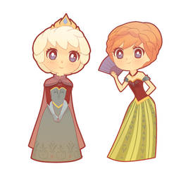 frozen Chibis - Elsa and Anna by Opeiaa