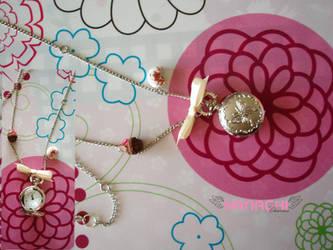 silver clock necklace by Hanachi-bj