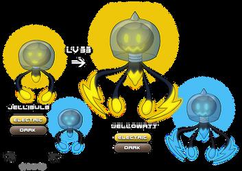 Jellibulb and Jellowatt (Electric/Dark Fakemon) by VibrantEchoes