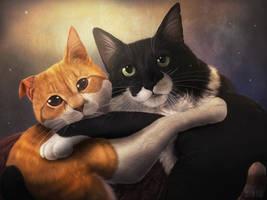 Cats Portrait by HintoArt