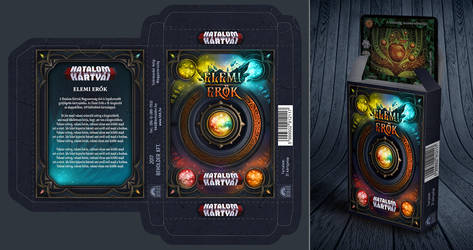 Concept design for a fantasy trading card game box by MermaliorX