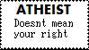 Atheist doesnt mean stamp by SallyGauge