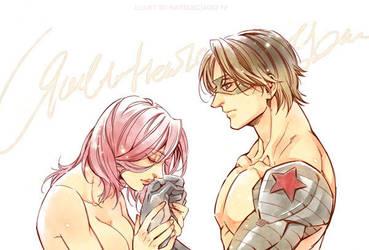 Marvel-Bucky and Natasha by Athew