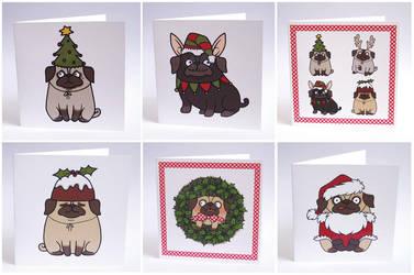 Pug Christmas Cards by creaturekebab