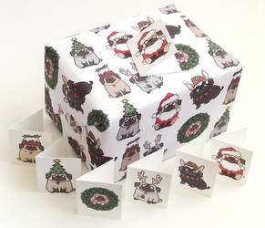 Pug Christmas Giftwrap by creaturekebab