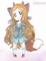Chibi fox chan by Noodlecuppie