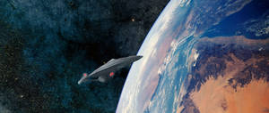 Enterprise E in Earth Orbit by Robby-Robert