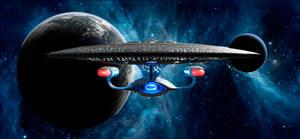 Enterprise D leaving orbit by Robby-Robert
