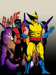 Nightcrawler and Wolverine by TheWolverineCello