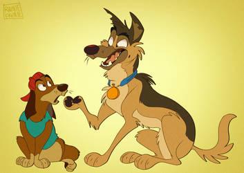 That Iconic Dog Duo by Rainie-Painie