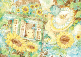 sunflower garden on my gutter by Melonkitten