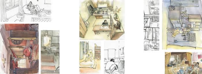 Room illustrations by melukilan