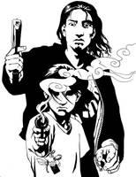 Guns and Angels bw by melukilan