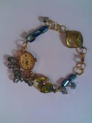 Steampunk watch piece crystal bracelet by soophieO