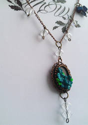 Tiny Blue Flowers Crystal Bead Necklace by soophieO