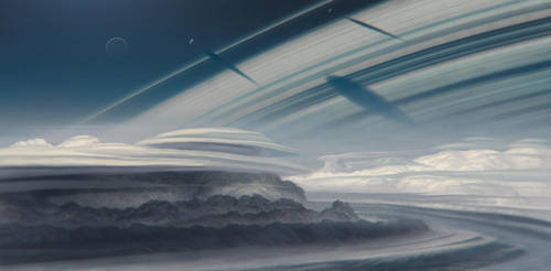 Sky of a ringed planet by JustV23