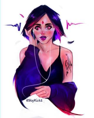 Raven stylized portrait by SkyRick1