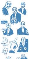 WD Gaster SketchDump by Itachei