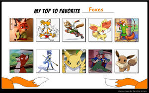 My Top 10 Favourite Foxes by DracoCharizard87