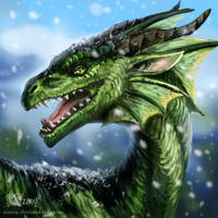 Commission: Green dragon by Azany