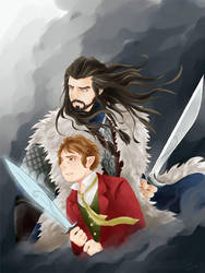 The Hobbit-Thorin/Bilbo: Fight Together by Gorryb