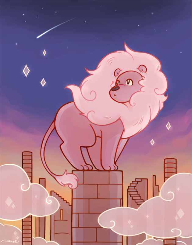 Lion (c) Steven Universe, Rebecca Sugar rebloglink: Tumblr I should practice backgrounds more often *u*