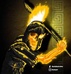 Cursed Hoplite (or ancient Ghost Rider) by DarthDestruktor