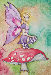 Mushroom fairy by astraldreamer