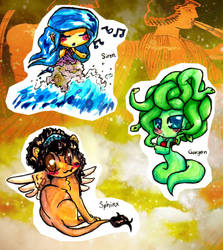 Greek mythological creatures chibi's 1 by Inya-spring