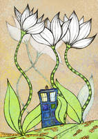 Tardis and Flowers by exlinum