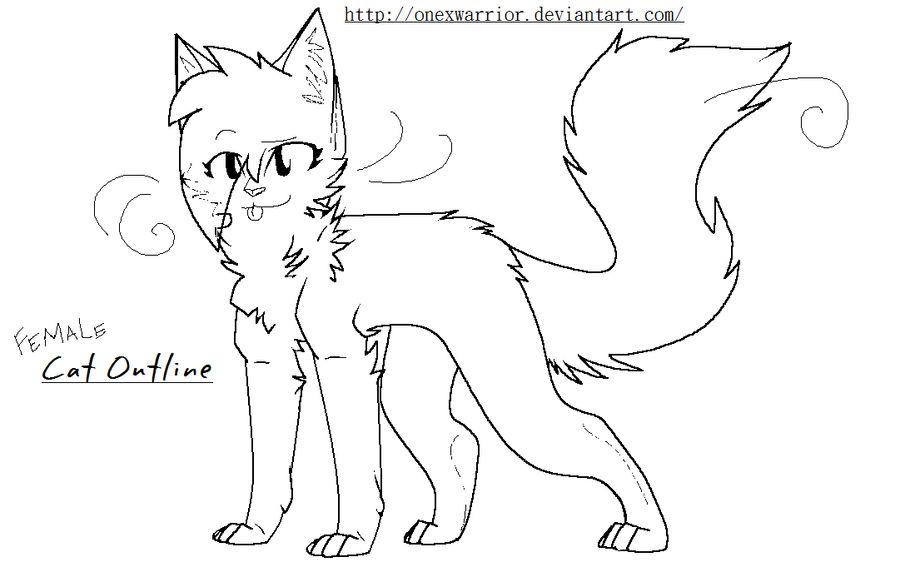 Female Cat Outline -hair by OneXWarrior