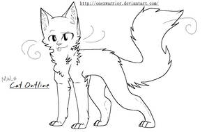Male Cat Outline by OneXWarrior