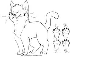 Female Cat Outline-hair NEW by OneXWarrior