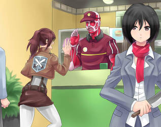 COLOSSAL TITAN IS A PART TIMER! by zipskyblue