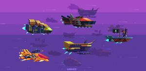 Mockup space pirate ships by kirokaze