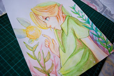 Young Link Majora's Mask Watercolor fanart by Olyvee