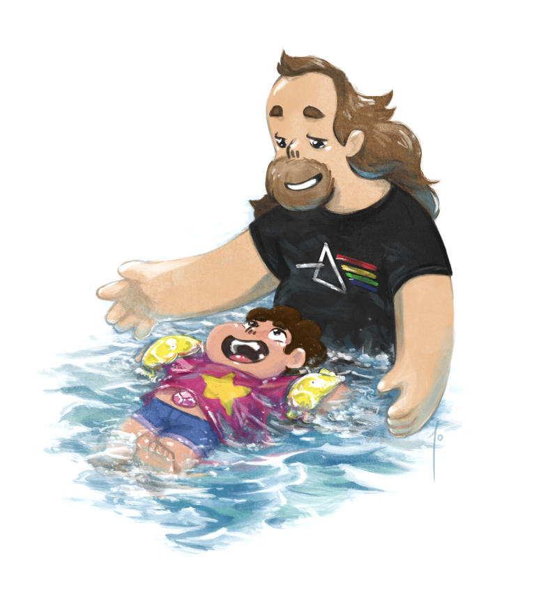 itty bitty Steven learning to swim with Greg because they're both cuties medium: photoshop cs6 tumblr: