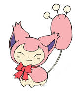 Skitty with a bow by Popomo