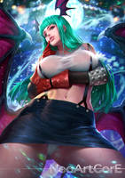 Morrigan dressed as Tifa by NeoArtCorE