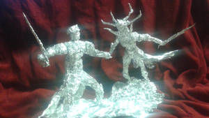Thor vs Hela - Aluminum Foil Sculpture by TheFoilGuy