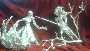 Raven vs Cinder - Aluminum Foil Sculpture by TheFoilGuy
