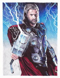 Thor Ballpoint Pen Drawing by demoose21
