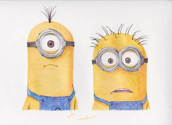 Minions Ballpoint Pen Drawing by demoose21