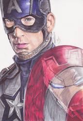 Captain America Civil War Ballpoint Pen Drawing by demoose21