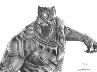 Black Panther Ballpoint Pen Drawing by demoose21